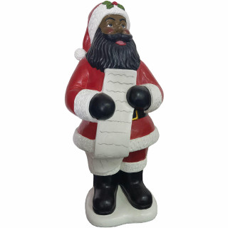 Christmas Time Christmas Time 3-Ft African American Santa Claus Figurine Holding a List, Resin Indoor or Covered Outdoor Holiday Decor, CT-RS036SC0-RDAA