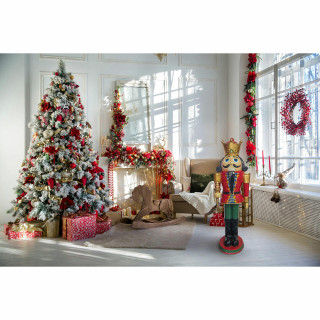Christmas Time Christmas Time 4-Ft Nutcracker King Wearing a Crown, Resin Figurine w/ LED Lights, Indoor or Covered Outdoor Christmas Decor, Red, CT-RS048NC1-RD1