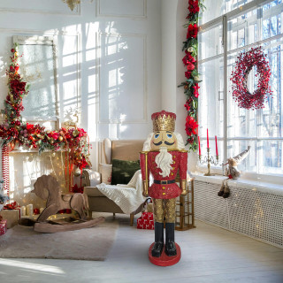 Christmas Time Christmas Time 4-Ft Nutcracker King Holding a Baton, Resin Figurine w/ LED Lights, Indoor or Covered Outdoor Christmas Decor, Red, CT-RS048NC1-RD2