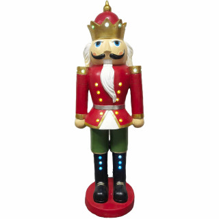 Christmas Time Christmas Time 5-Ft Nutcracker King Wearing a Crown, Resin Figurine w/ LED Lights, Indoor or Covered Outdoor Christmas Holiday Decor, Red, CT-RS060NC1-RD