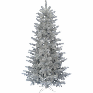 Haunted Hill Farm 5-Ft Spooky Silver Tinsel Tree, No Lights