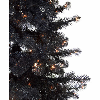 Haunted Hill Farm 5-Ft Spooky Black Tinsel Tree with Clear Incandescent Lighting