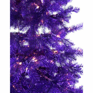 Haunted Hill Farm 5-Ft Spooky Purple Tinsel Tree with Clear Incandescent Lighting