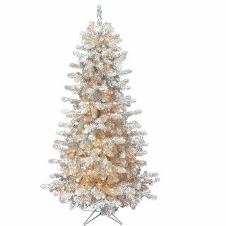Haunted Hill Farm 5-Ft Spooky Silver Tinsel Tree with Clear Incandescent Lighting