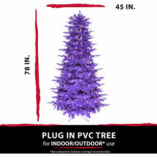 Haunted Hill Farm 6.5-Ft Spooky Purple PVC Tree with Warm White LED Lighting