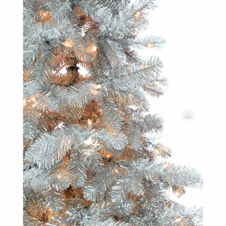 Haunted Hill Farm 7-Ft Spooky Silver Tinsel Tree with Clear Incandescent Lighting