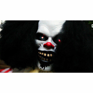Haunted Hill Farm Life-Size Poseable Animatronic Clown with Flashing Red Eyes Wally
