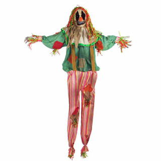 Haunted Hill Farm Life-Size Poseable Animatronic Scarecrow Clown with Flashing Eyes Burlap