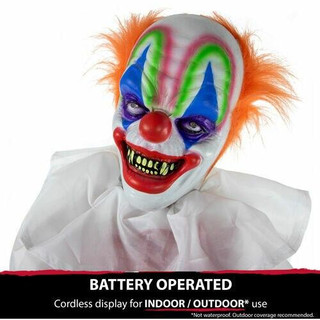 Haunted Hill Farm Life-Size Animatronic Talking Scary Clown with Flashing Red Eyes
