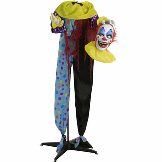 Haunted Hill Farm Life-Size Poseable Animatronic Headless Clown with Flashing Red Eyes Otto