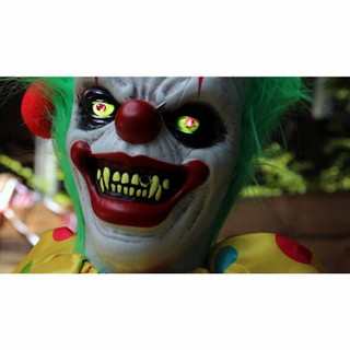 Haunted Hill Farm Life-Size Poseable Animatronic Clown with Flashing Red Eyes Snuggles