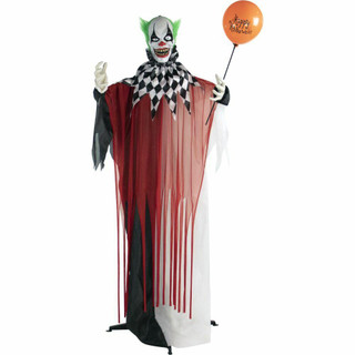 Haunted Hill Farm Life-Size Poseable Animatronic Clown with Flashing Red Eyes Herbert