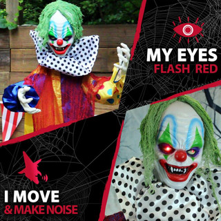 Haunted Hill Farm Life-Size Poseable Animatronic Clown with Flashing Red Eyes Grendel