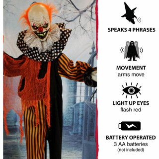 Haunted Hill Farm Life-Size Poseable Animatronic Clown with Red Flashing Eyes Pyro