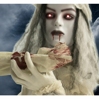 Haunted Hill Farm Groundbreaker Animatronic Bride with Flashing Red Eyes, 31 inches