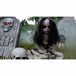 Haunted Hill Farm Animotronic Groundbreaker Zombie with Flashing Red Eyes, 33 inches Tabitha