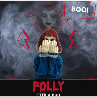 Haunted Hill Farm Pop-Up Animatronic Haunted Doll with Red Flashing Eyes and Makes Noises, 27 inches