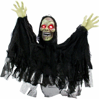 Haunted Hill Farm Pop-Up Animatronic Poseable Ghoul with Flashing Red Eyes, 24 inches Garry