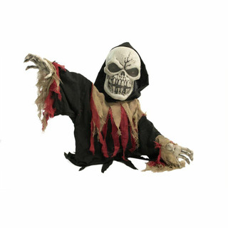 Haunted Hill Farm Animatronic Doomsday Poseable Reaper with Flashing Red Eyes, 39 inches