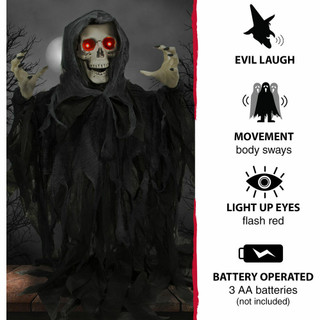 Haunted Hill Farm Animatronic Poseable Reaper Skeleton with Flashing Red Eyes, 46 inches Odin