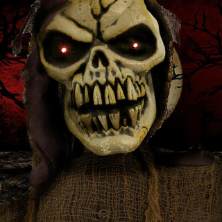 Haunted Hill Farm Animatronic Poseable Reaper with Flashing Red Eyes, Poseable, 36 inches Vlad