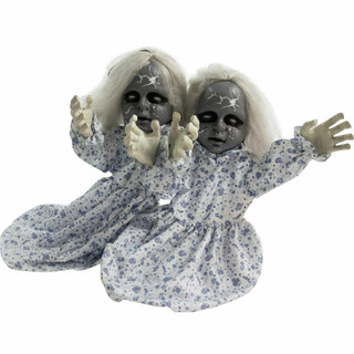 Haunted Hill Farm Groundbreaker Animotronic Zombie Twins with Flashing Red Eyes, 33 inches