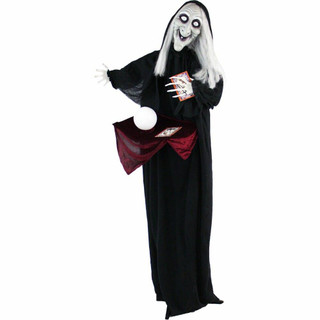 Haunted Hill Farm Life-Size Poseable Animatronic Fortune Teller Witch with Flashing Eyes