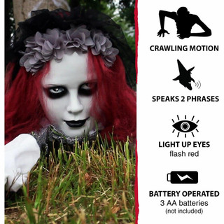 Haunted Hill Farm Animatronic Crawling Bride Doll with Flashing Red Eyes, 65 inches