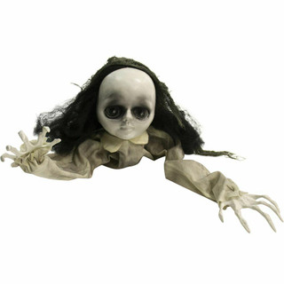 Haunted Hill Farm Animatronic Crawling Baby Doll with Flashing Red Eyes, 36 inches
