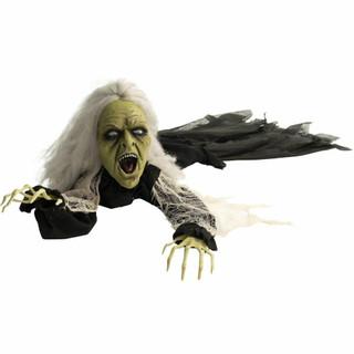 Haunted Hill Farm Life-Size Poseable Animatronic Crawling Witch with Flashing Red Eyes Ursula