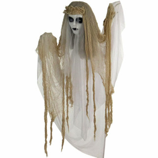 Haunted Hill Farm Animatronic Bride with Light-up White Eyes, Poseable 47 inches