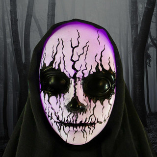 Haunted Hill Farm Life Size Poseable Animatronic Reaper with Multi-Colored Face