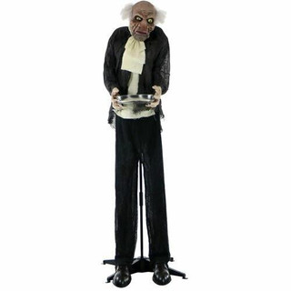 Haunted Hill Farm Life-Size Animatronic Moaning Butler Holding Silver Tray