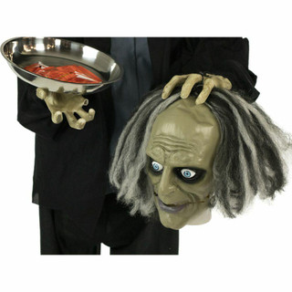 Haunted Hill Farm Life-Size Poseable Animatronic Zombie with Light-up Red Eyes Herald