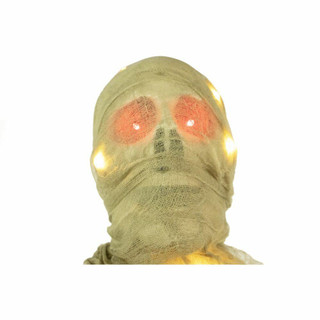 Haunted Hill Farm Life-Size Poseable Animatronic Mummy with Light-up Red Eyes
