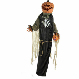 Haunted Hill Farm Life-Size Animatronic Talking Pumpkin Man with Light-up Colorful Head
