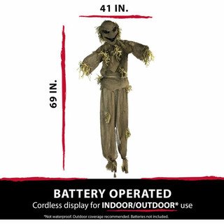 Haunted Hill Farm Life-Size Poseable Animatronic Scarecrow with Red Light-up Face