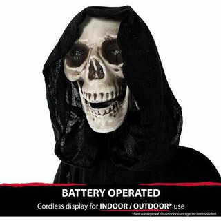 Haunted Hill Farm Life-Size Animatronic Grim Reaper with Chain and Rotating Head