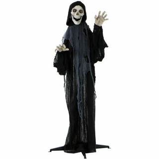 Haunted Hill Farm Life-Size Animatronic Grim Reaper with Flashing Eyes and Ribs