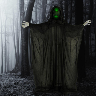 Haunted Hill Farm Life-Size Poseable Animatronic Shadow Reaper with Light-up Face