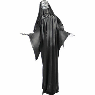 Haunted Hill Farm Life-Size Poseable Animatronic Soul Stealer Reaper with Flashing White Eyes