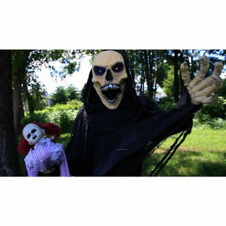 Haunted Hill Farm Life-Size Poseable Animatronic Reaper with Flashing Colorful Eyes Frank
