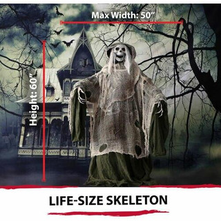Haunted Hill Farm Life-Size Animated Moaning Skeleton Prop w/ Rotating Head