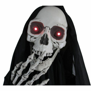 Haunted Hill Farm Life-Size Poseable Animatronic Skull Reaper with Light-up Red Eyes