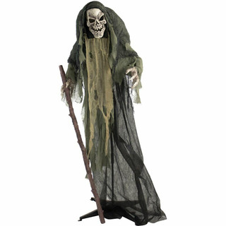 Haunted Hill Farm Life-Size Poseable Animatronic Reaper with Flashing Red Eyes Jinx