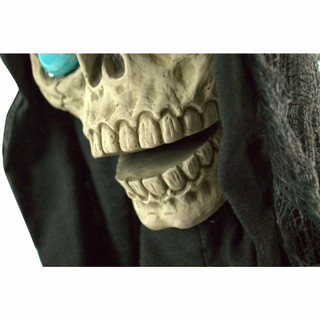 Haunted Hill Farm Life-Size Poseable Animatronic Angel of Death Reaper with Flashing Blue Eyes