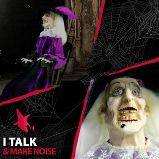 Haunted Hill Farm Life-Size Animatronic Witch, Talking and Moving Gale