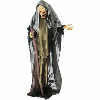 Haunted Hill Farm Life Size Poseable Animatronic Witch with Eyes that Light Up Red Esther