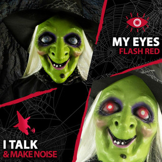 Haunted Hill Farm Life-Size Poseable Animatronic Witch with Light-up Eyes Trixy