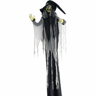 Haunted Hill Farm Life-Size Poseable Animatronic Witch with Light-up White Eyes Minerva